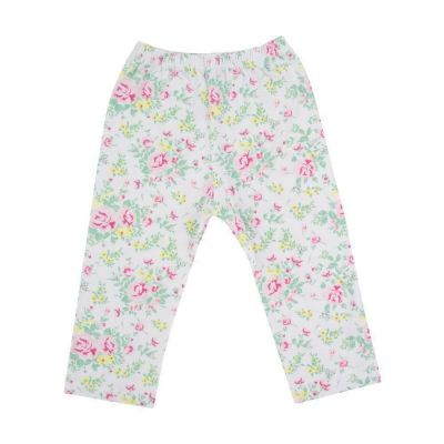 Calça bebê sem pé floral - Branco