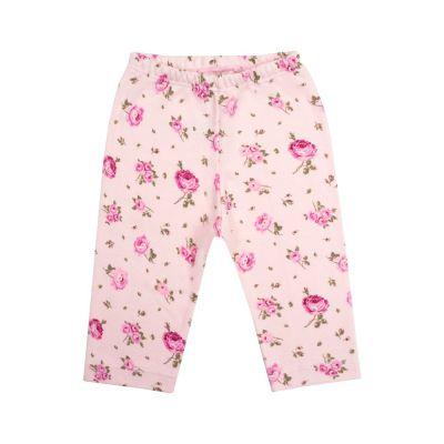 Calça bebê sem pé floral - Rosa bebê