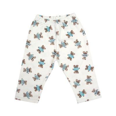 Calça bebê sem pé ursinho - Branco e azul bebê