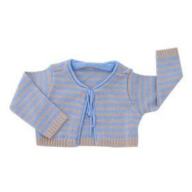 Casaco bebê em linha listrado - Azul bebê e bege