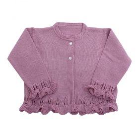 Casaco bebê em tricot com botões - Rosê