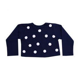 Casaco bebê pom pom - Azul marinho