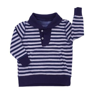 Casaco bebê listrado - Azul e cinza