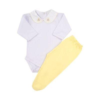 Conjunto bebê 2 peças - Branco e amarelo