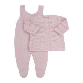 Conjunto bebê 2 peças com bordado - Rosa pó