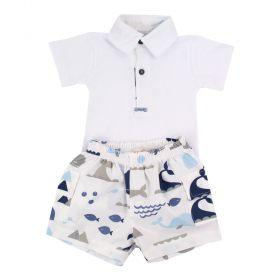 Conjunto bebê 2 peças fundo do mar - Branco e azul