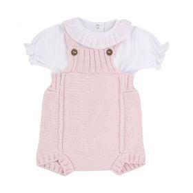 Conjunto bebê 2 peças - Rosa pó e branco