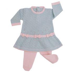 Conjunto bebê 3 laços - Azul pó e rosa bebê