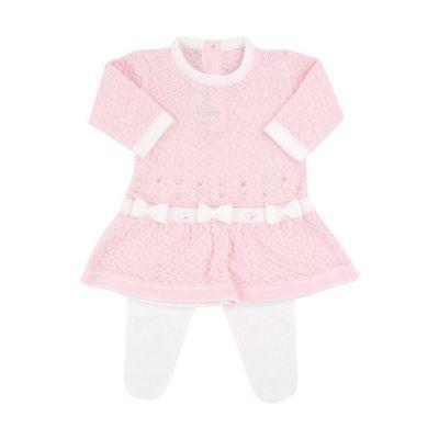 Conjunto com vestido e calça 3 laços com cristais swarovski - Rosa bebê