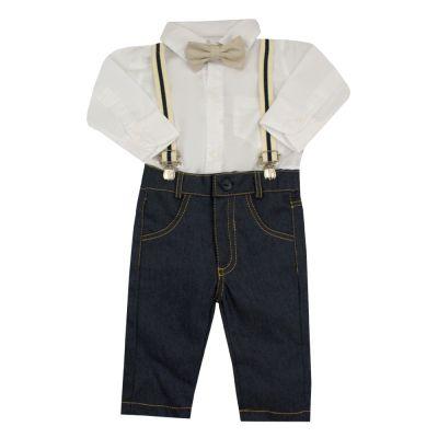 Conjunto bebê 4 peças masculino - Branco e jeans