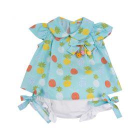 Conjunto bebê abacaxi - Branco e azul bebê