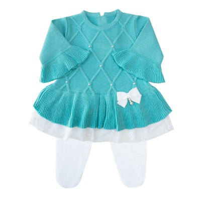 Conjunto bebê barra renda vestido e calça - Tiffany