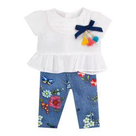 Conjunto bebê bata com calça legging floral - Branco e jeans