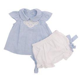 Conjunto bebê 2 peças - Azul e branco
