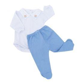 Conjunto bebê body com gola bordada de ursinho e mijão 2 peças - Branco/Azul claro