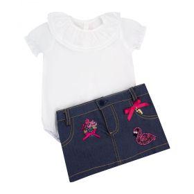 Conjunto bebê body com saia flamingos - Branco e jeans
