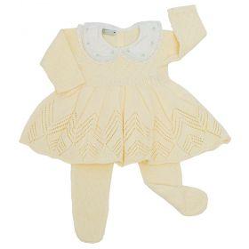 Conjunto bebê bordado - Amarelo bebê
