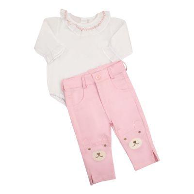 Conjunto bebê calça e body ursinho - Branco e rosa