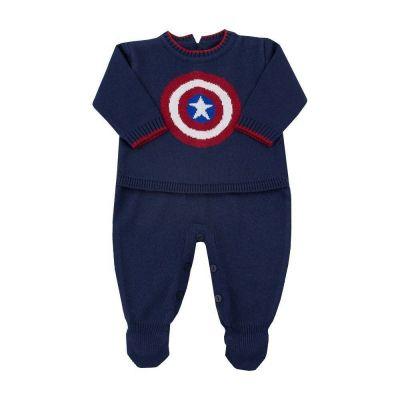 Macacão bebê capitão américa - Azul marinho