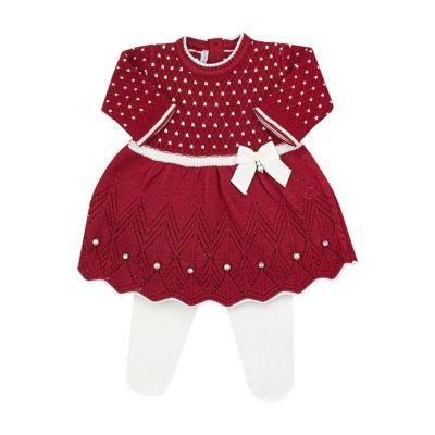 Conjunto bebê casinha de abelha vestido com cristais swarovski e calça - Vermelho red night e branco