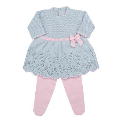 Conjunto bebê casinha de abelha vestido com cristais swarovski e calça - Azul pó e rosa sensação