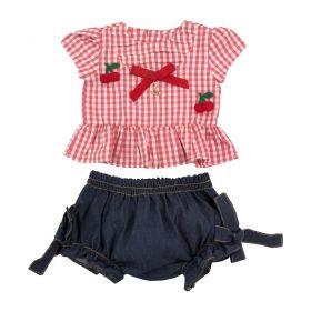 Conjunto bebê cereja - Vermelho e jeans