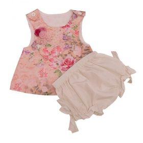 Conjunto bebê 2 peças - Marfim e rosa