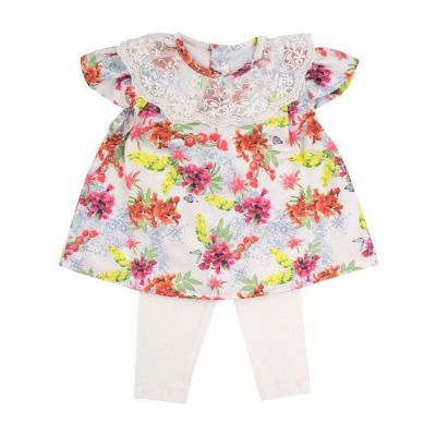 Conjunto bebê com bata e legging - Marfim