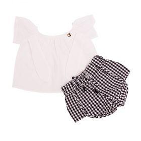 Conjunto bebê com bata e short - Branco e preto