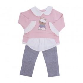 Conjunto bebê moletom com gola e bordado de cachorrinho e calça com recortes - Rosa pó e cinza