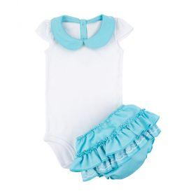 Conjunto bebê com body e calcinha frufru - Branco e azul tiffany