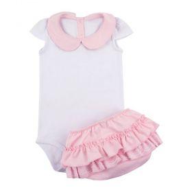 Conjunto bebê com body e calcinha frufru - Branco e rosa bebê