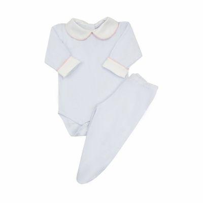 Conjunto bebê com body e culote - Branco e rosa