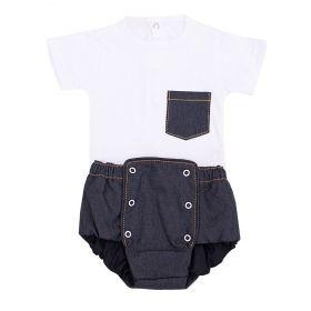 Conjunto bebê 2 peças - Branco e jeans