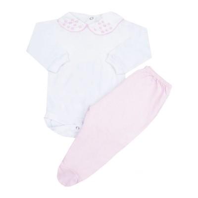 Conjunto bebê com body gola flores com pérolas e mijão - Rosa e branco