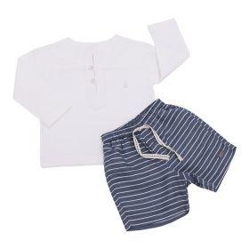 Conjunto bebê com camisa e bermuda - Off white e jeans