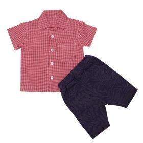 Conjunto bebê com camisa e bermuda - Vermelho e azul marinho