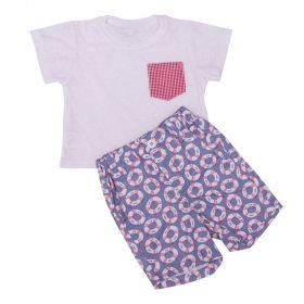 Conjunto bebê com camiseta e short - Branco e azul