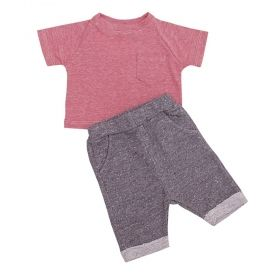 Conjunto bebê 2 peças - Rosa e cinza
