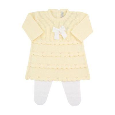 Saída de maternidade feminina vestido e calça com cristais swarovski - Amarelo bebê e branco