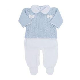 Conjunto bebê com cristais swarovski - Azul pó