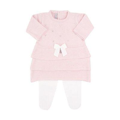 Saída de maternidade feminina vestido e calça 3 babados com cristais swarovski - Rosa pó