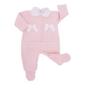 Conjunto bebê com cristais swarovski - Rosa pó