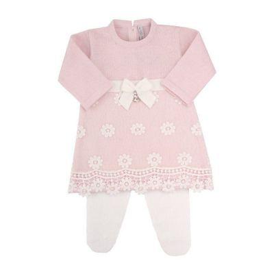 Saída de maternidade feminina vestido e calça organza com cristais swarovski - Algodão doce