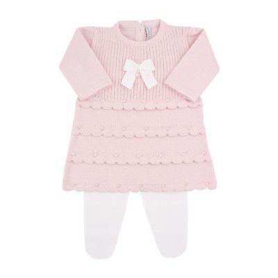 Saída de maternidade feminina vestido e calça 4 babados com cristais swarovski - Rosa pó