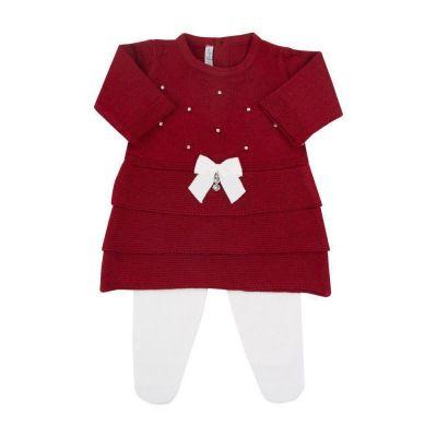 Saída de maternidade feminina vestido e calça com cristais swarovski - Vermelho e branco