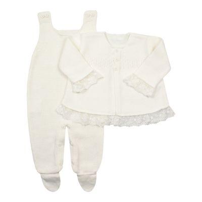 Conjunto bebê com jardineira e casaco - Marfim