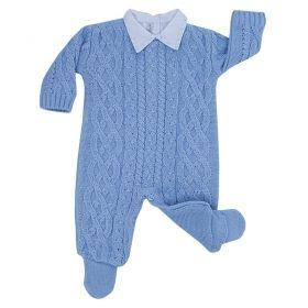 Conjunto bebê com macacão e body - Azul bebê