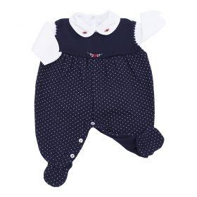Conjunto bebê com macacão e body - Azul marinho