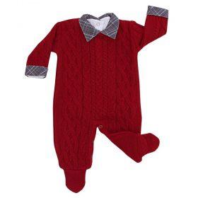 Conjunto bebê com macacão e body - Vermelho